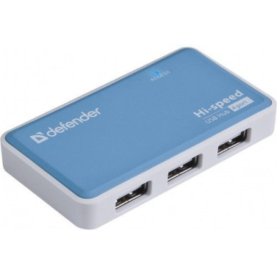 Адаптер USB HUB (USB2,0, 4 порта, Defender Quadro POWER) + блок питания (83503)